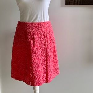 Coral A line flower pattern skirt.